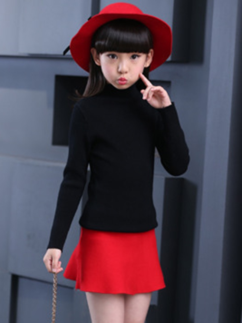 Ericdress Turtleneck Pullover Long Sleeve Girl's Sweater