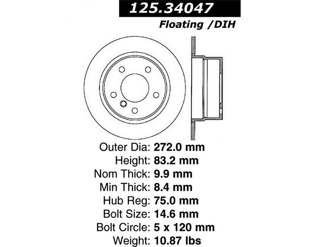 StopTech 125.34047 Premium High-Carbon Rotor BMW Z3 Rear 1996-2002