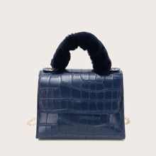 Tasche mit Krokodil Praegung und Klappe
