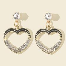 Rhinestone Decor Heart Drop Earrings