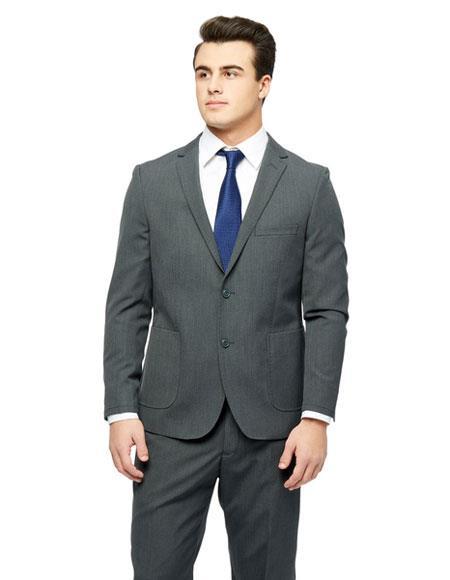 Men's Checked Pattern Single Breasted Grey Wool Feel Slim Fit Suit