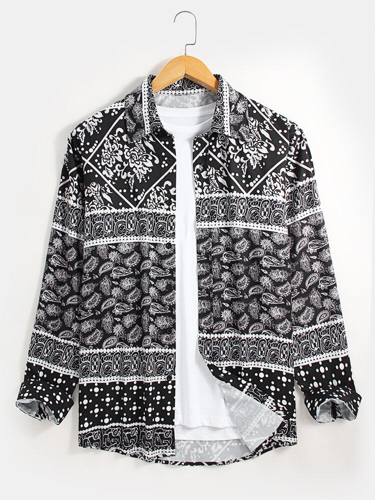 Mens Allover Ethnic Paisley Printed Lapel Collar Casual Long Sleeve Shirts