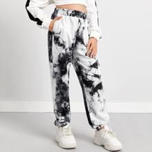 Pantalones deportivos de tie dye con bolsillo oblicuo