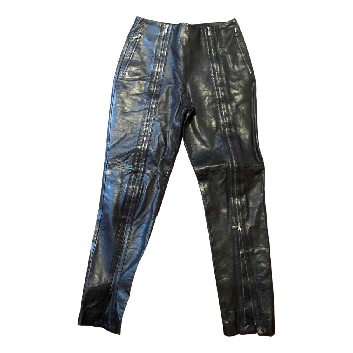 Pantalon recto de Cuero Bottega Veneta