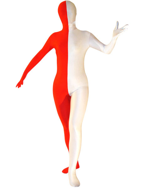 Milanoo Disfraz Halloween Halloween Entero BodySuit Blanco Rojo Spandex Zentai Traje Halloween Carnaval Halloween