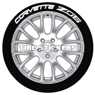 Tire Stickers CORVTTZ06-1921-125-4-Y Permanent Raised Rubber Lettering 'Corvette Z06' Logo - 4 of each - 19