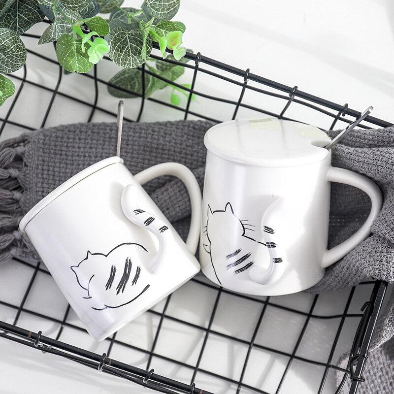 3D Cartoon Cat Creative Ceramic Cups Cat Tail Coffee Mug Office Tea Milk Mug Gift
