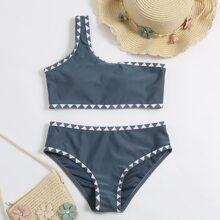 Girls Geo Print One Shoulder Bikini Swimsuit