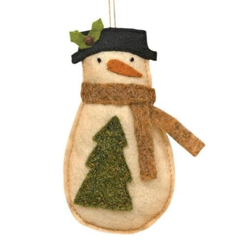 Felt Snowman w/ Tree Ornament (Beige)