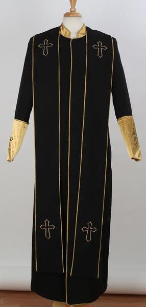 Men's Big & Tall Collar Black Church Cross Accent Robe Stole Suits