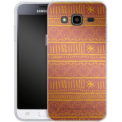 Samsung Galaxy J3 (2016) Silikon Handyhuelle - Tribal Orange von Smiley®