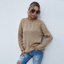 Pointelle Knit Scallop Trim Drop Shoulder Sweater