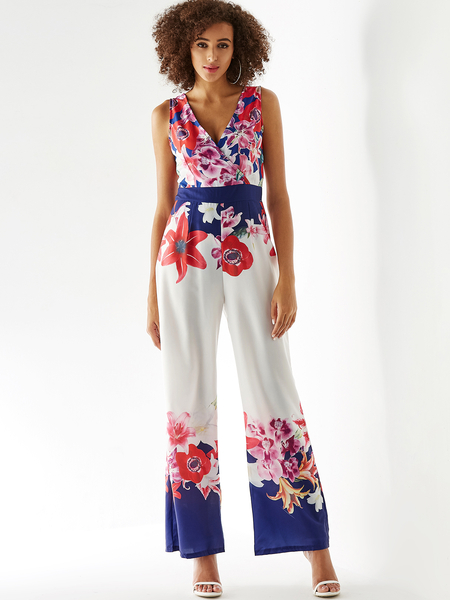 Yoins White Crossed Front Design Random Floral Print Jumpsuit
