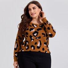 Pullover mit Gepard Muster und sehr tief angesetzter Schulterpartie