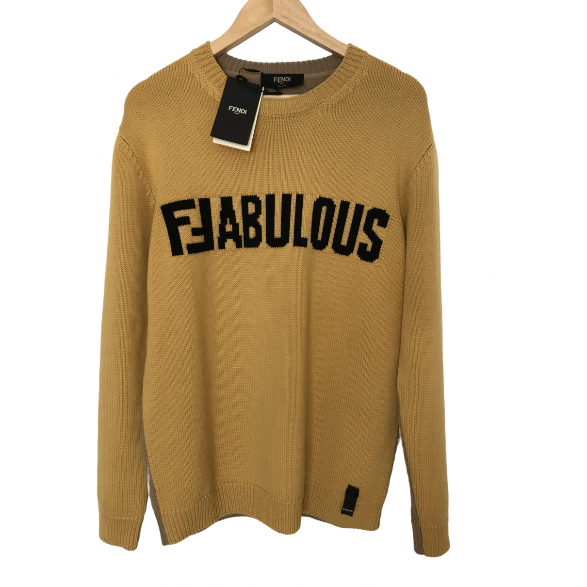 Fendi \N Pullover.Westen.Sweatshirts  in  Kamel Wolle