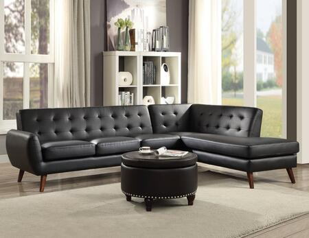 Essick II Collection 53040 Sectional Sofa with Buttonless Tufted Backrest  Espresso Tapered Legs  Thin Curved Armrest  Pocket Coil Seating and Bycast