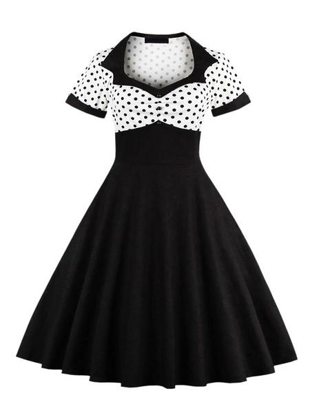 Milanoo Retro Dress 1950s Yellow Woman\s Short Sleeves Turndown Collar Rockabilly Dress