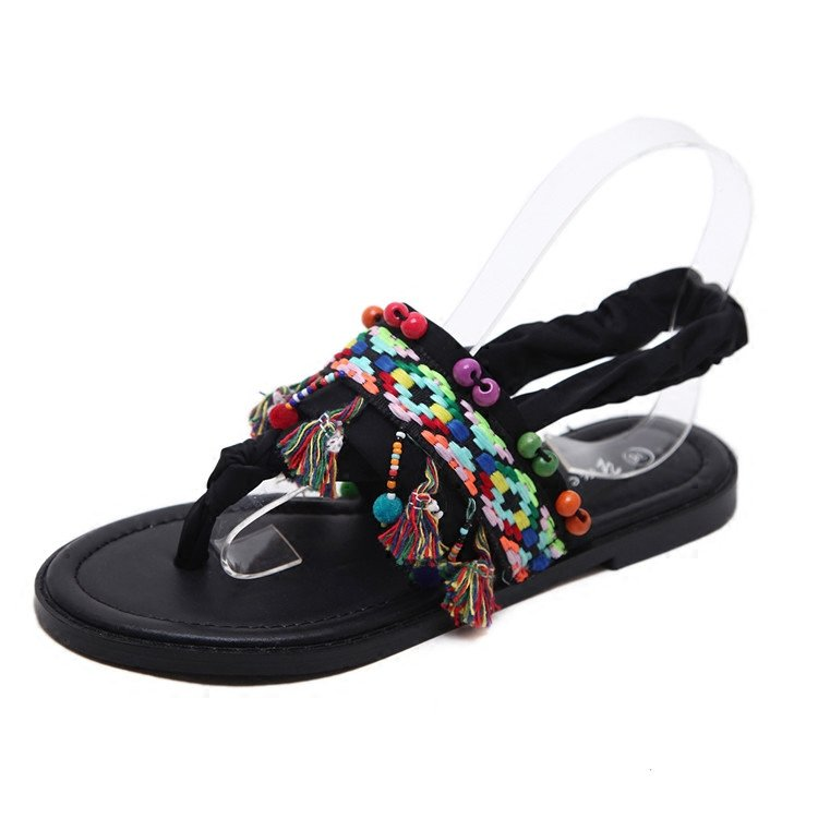 Colorful Bohemian Black Retro Sandals