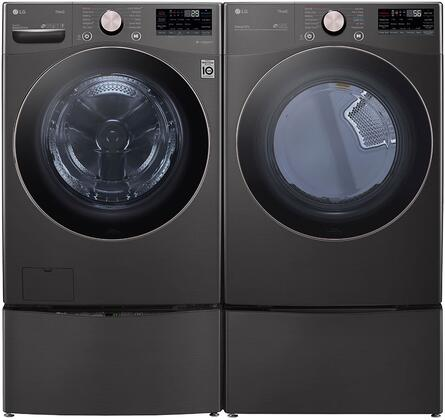 Black Steel Smart Side By Side Front Load Laundry Pair with WM4000HBA 27