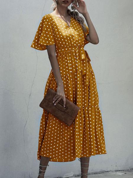 Milanoo Maxi Dresses Short Sleeves Red V-Neck Polyester Tea Dress