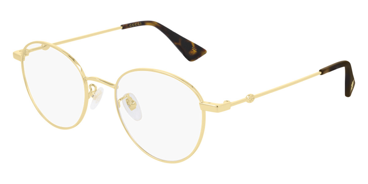 Gucci GG0607OK Asian Fit 001 Men's Glasses Gold Size 50 - Free Lenses - HSA/FSA Insurance - Blue Light Block Available