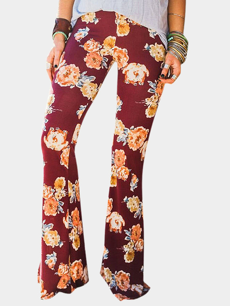 Yoins Burgundy Floral Print Flared Long Pants