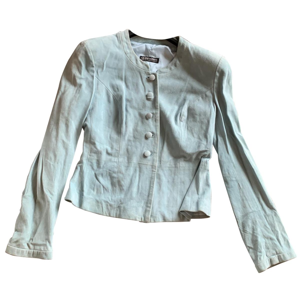 Giorgio Armani - Veste   pour femme en cuir - turquoise