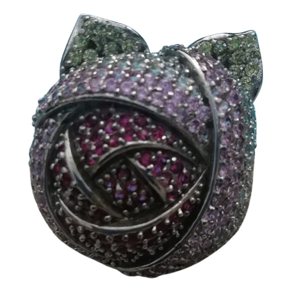 Non Signe / Unsigned Motifs Floraux Ring in  Rosa Silber