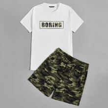 Men Letter Graphic Top & Camo Track Shorts Set