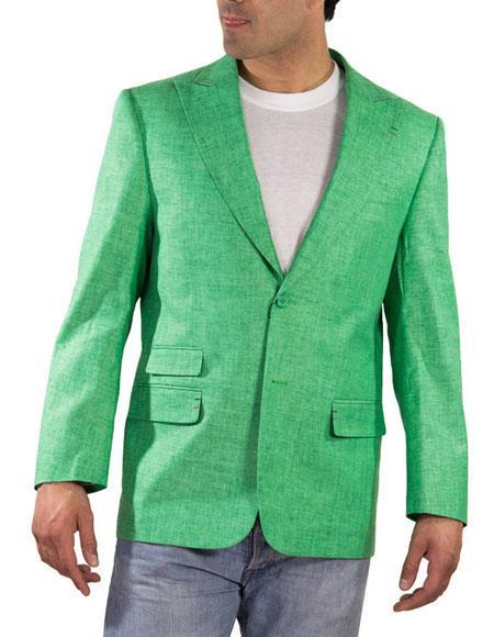 Men's One Ticket Pocket Green Thread & Stitch 100% Linen Blazer