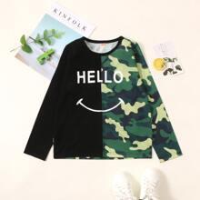 T-Shirt mit Camo & Buchstaben Grafik