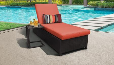 Belle BELLE-W-1x-ST-TANGERINE Patio Set with 1 Chaise with Wheels  1 Side Table - Wheat and Tangerine