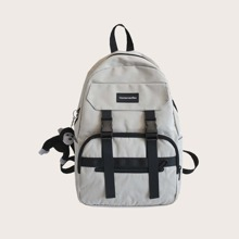 Men Letter Graphic Backpack With Toy Charm