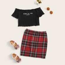Girls Lettuce Trim Slogan Graphic Bardot Top & Tartan Skirt Set