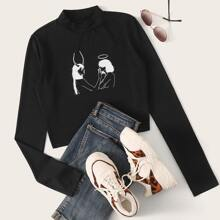 Figure Graphic Long Sleeve Black Tee