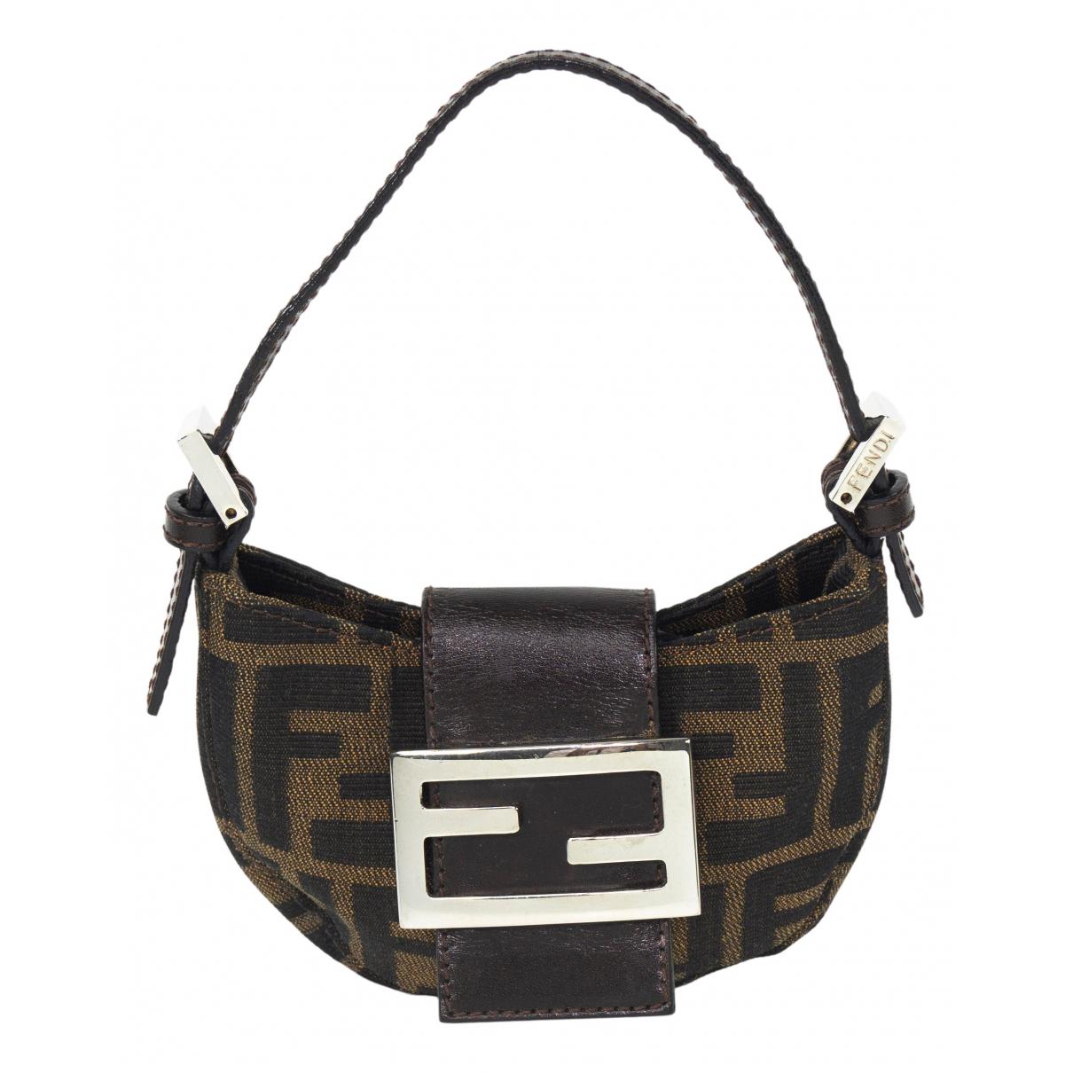 Fendi Baguette Clutch in  Braun Leinen