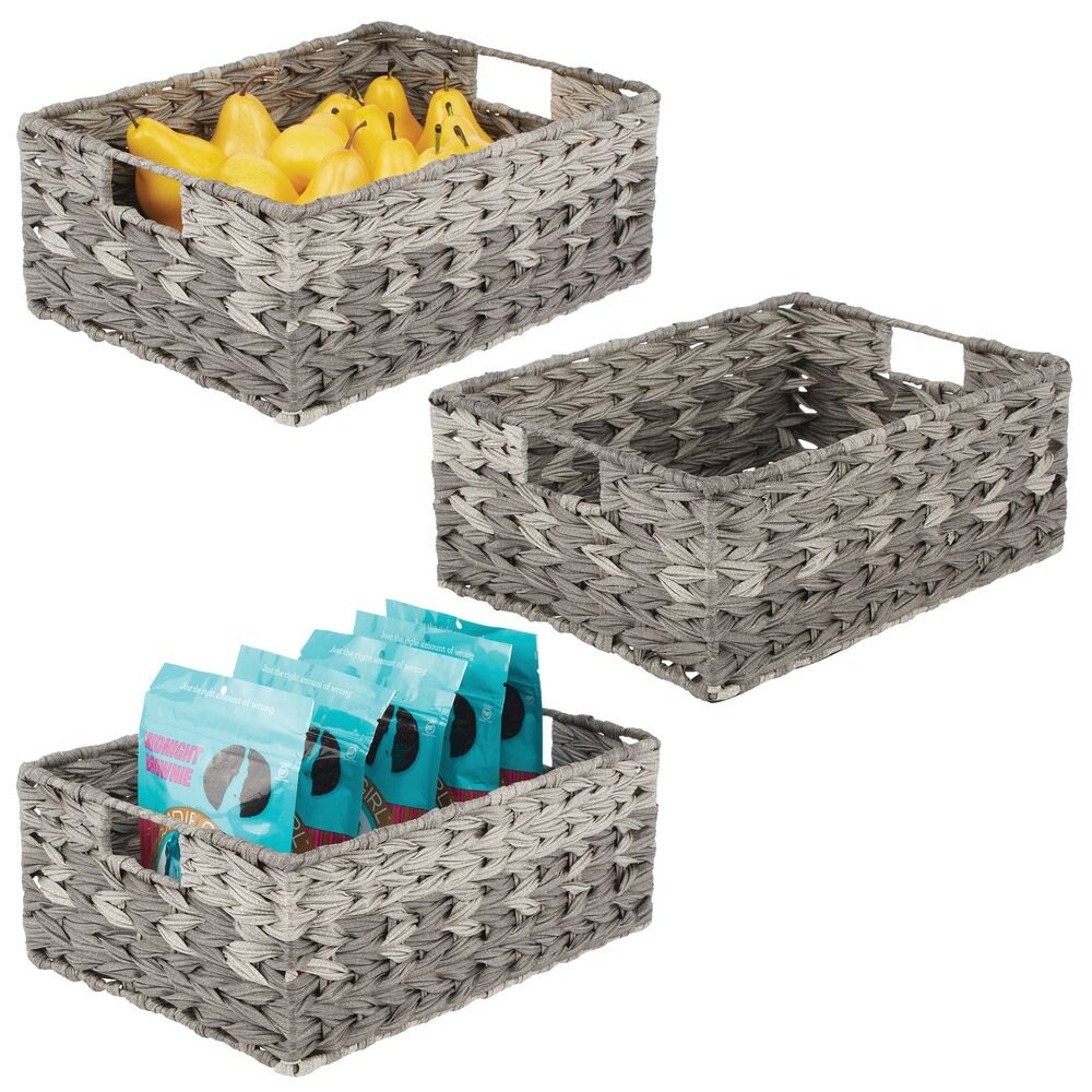 Plastic Ombre Woven Pantry Storage Bins - Pack of in Gray, by mDesign