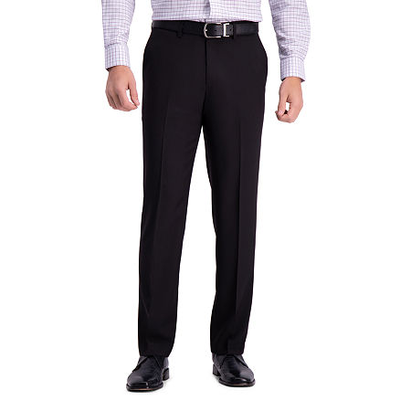 Haggar Premium Comfort Straight Fit Flat Front Dress Pant, 42 30, Black