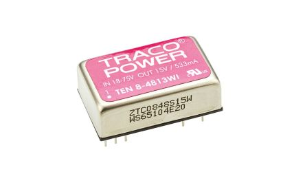 TRACOPOWER TEN 8WI 8W Isolated DC-DC Converter Through Hole, Voltage in 18 → 75 V dc, Voltage out 15V dc Railway
