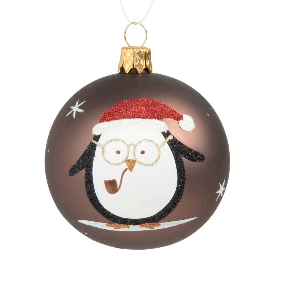 Weihnachtskugel aus braunem Glas, bedruckt mit Eulenmotiv