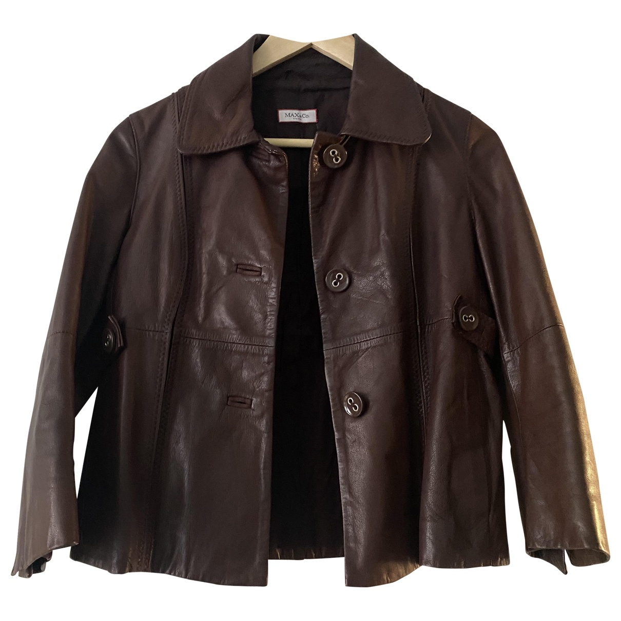 Max & Co \N Brown Leather Leather jacket for Women M International