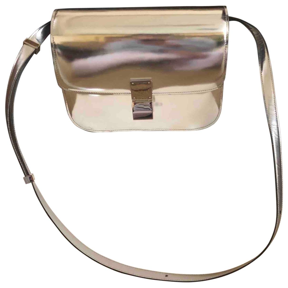 Celine Classic Handtasche in  Silber Lackleder