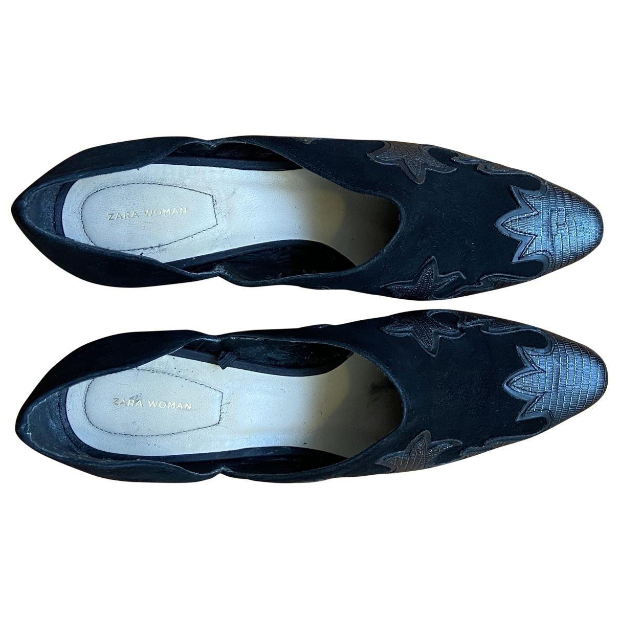Zara - Escarpins   pour femme en cuir - noir