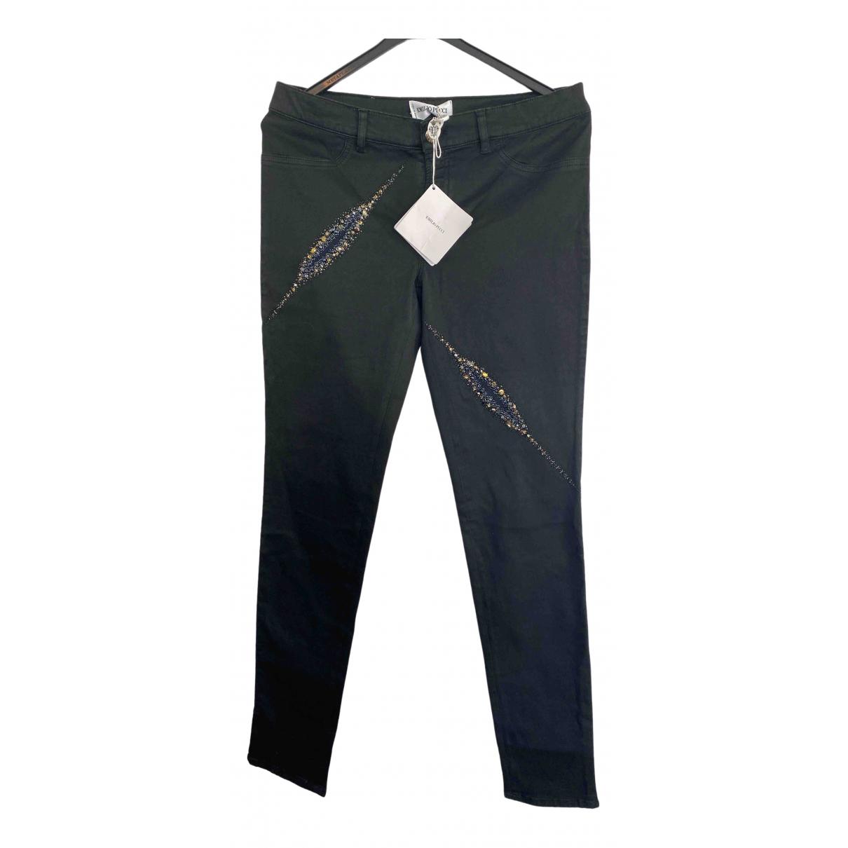 Emilio Pucci \N Black Cotton Trousers for Women 42 IT