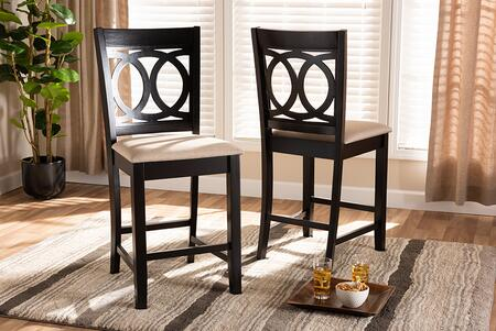 Essential RH315PSandDarkBrownPC Baxton Studio Lenoir Modern and Contemporary Sand Fabric Upholstered Brown Finished Wood Counter Height Pub Set of 2