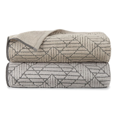 JCP Home 4 EVR Fresh Geometric Sculpted Charocal Infused Bath Towel, One Size , Beige