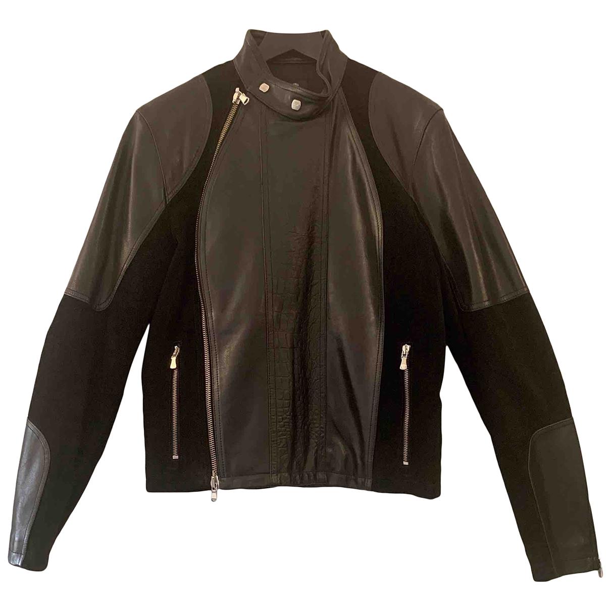 Versace Jean - Vestes.Blousons   pour homme en cuir - noir