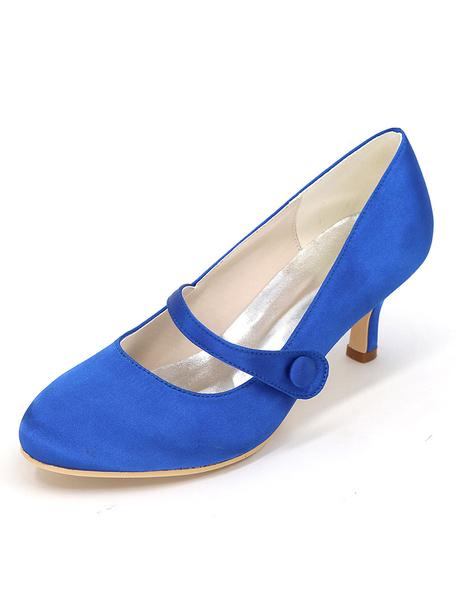 Milanoo Zapatos de novia de saten 6cm Zapatos de Fiesta Zapatos Marfil de tacon de kitten Zapatos de boda de puntera redonda con botones