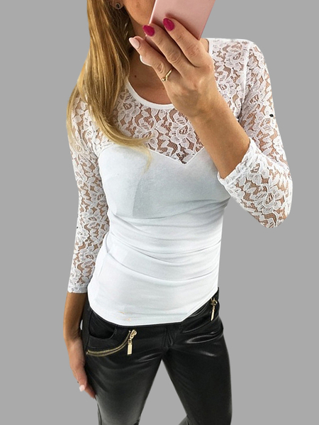 Yoins White Sexy Lace Insert Long Sleeves Patchwork Design T-shirt