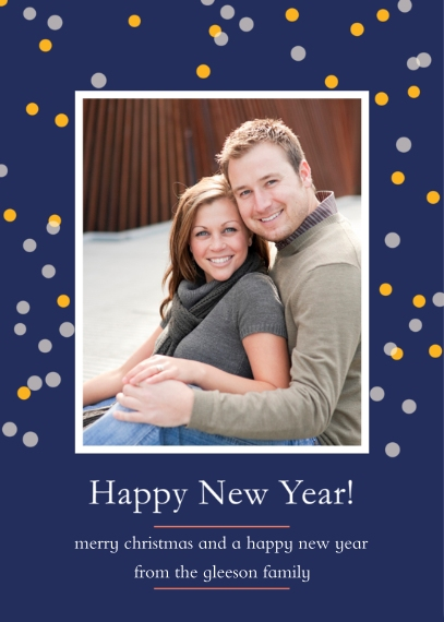 New Year's Photo Cards Mail-for-Me Premium 5x7 Flat Card, Card & Stationery -Confetti New Year